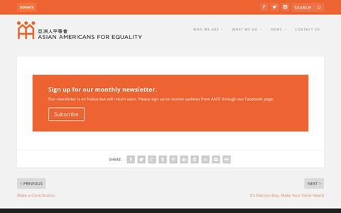 Screenshot of Signup Page aafe.org - Sign up for Our Newsletter | Asian Americans for Equality - captured Nov. 21, 2016