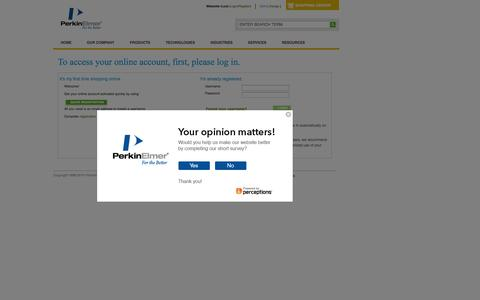 Screenshot of Login Page perkinelmer.com - Login - captured Sept. 13, 2014