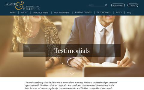 Screenshot of Testimonials Page somerheller.com - Testimonials — Somer Heller LLP - captured Nov. 18, 2018