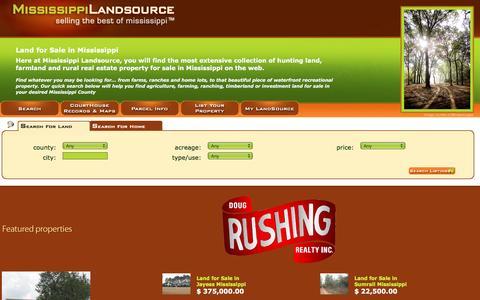 Screenshot of Home Page mississippi-landsource.com - Land for sale in Mississippi | Hunting land | mississippi-landsource.com - captured Nov. 29, 2016