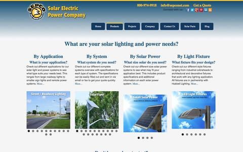 Screenshot of Products Page sepco-solarlighting.com - Products Provided by SEPCO-Solar Lighting - captured Oct. 10, 2014