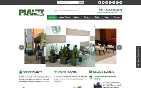 Screenshot of Home Page plantz.us - Office Plants | Green Wall, Wedding Plants for Rent - captured Jan. 16, 2015