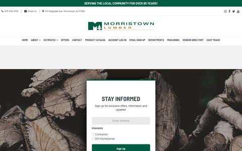 Screenshot of FAQ Page morristownlumber.com - Frequently Asked Questions | Morristown Lumber Morristown, NJ - captured Feb. 22, 2020