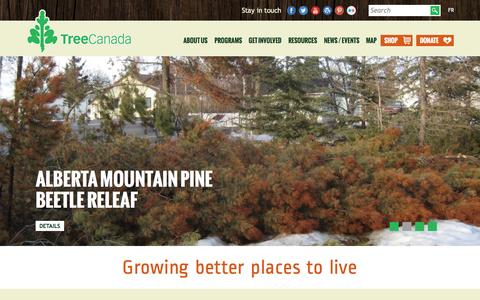 Screenshot of About Page Privacy Page Contact Page FAQ Page Testimonials Page Maps & Directions Page treecanada.ca - Tree Canada - Arbres Canada :: Home - captured Sept. 25, 2015