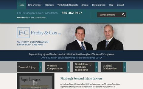 Screenshot of Home Page fridaylaw.com - Personal Injury & Workers Comp Law | Friday & Cox LLC Pittsburgh, - captured Feb. 10, 2016