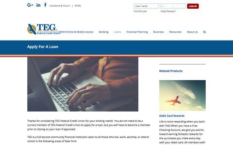 Screenshot of tegfcu.com - Apply For A Loan – TEG Federal Credit Union - captured Dec. 2, 2017