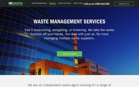 Screenshot of Services Page wastemanagement.com.au - Waste Management Services - captured Oct. 18, 2018