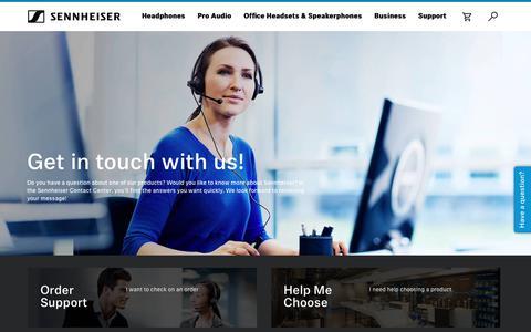 Screenshot of Support Page sennheiser.com - Sennheiser Contact Center - captured March 19, 2019