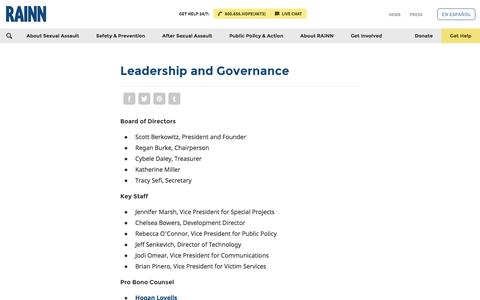 Screenshot of Team Page rainn.org - Leadership and Governance | RAINN - captured Aug. 12, 2016