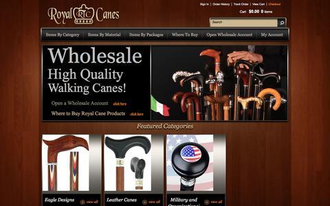 Screenshot of Home Page royalcanes.com - Royal Canes - captured Sept. 21, 2018