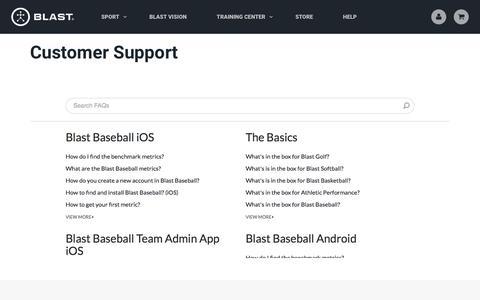 Screenshot of Support Page blastmotion.com - Blast Motion Support - DIY Motion Capture Technology | Blast Motion - captured Sept. 25, 2018