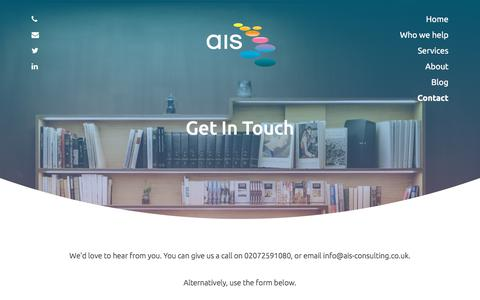 Screenshot of Contact Page ais-cfo-solutions.com - Contact | AIS Consulting - captured July 31, 2018