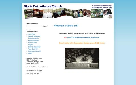 Screenshot of Home Page gloriadei.cc - Gloria Dei Lutheran Church - captured Jan. 30, 2016
