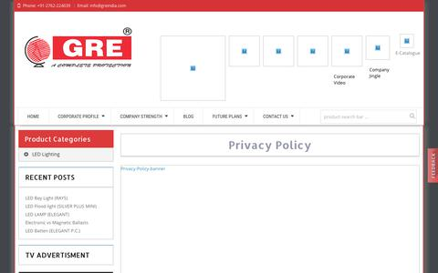 Screenshot of Privacy Page greindia.com - greindia | Privacy Policy - captured Sept. 26, 2018