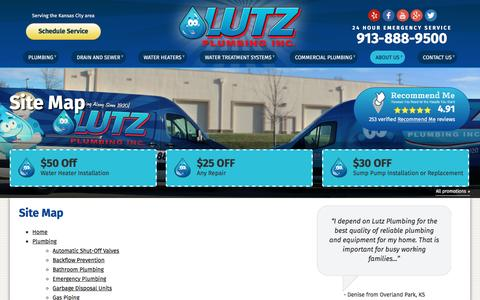 Screenshot of Site Map Page lutzplumbing.com - Site Map | Lutz Plumbing, Inc. - captured Nov. 15, 2016