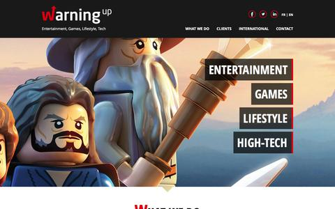 Screenshot of Home Page warningup.com - Warning Up - The games, lifestyle an high-tech agency - captured Jan. 17, 2016