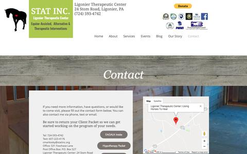 Screenshot of Contact Page statinc.org - STAT Ligonier Therapeutic Center | Contact - captured Oct. 20, 2018