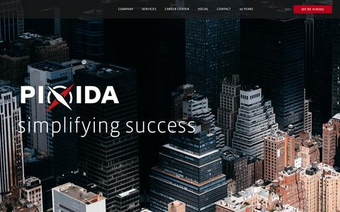 Screenshot of Home Page About Page Locations Page pixida.com - Mobility, Digitalization, Telematics, Smart City and IoT by Pixida - captured July 6, 2018