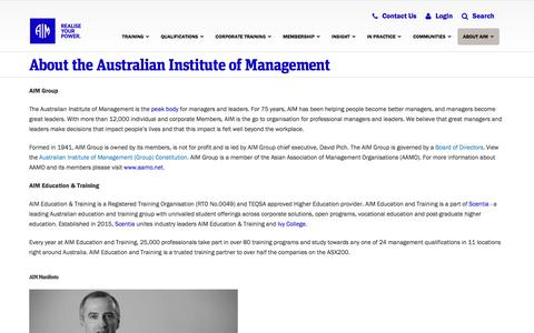 Screenshot of About Page aim.com.au - About the Australian Institute of Management | Australian Institute of Management - captured Sept. 6, 2016