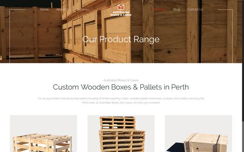 Screenshot of Products Page abccrates.com.au - Custom Wooden Boxes & Pallets In Perth - ABC Crates - captured April 12, 2017