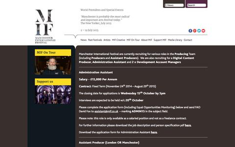 Screenshot of Jobs Page mif.co.uk - Jobs & Volunteering: Work with Manchester International Festival (MIF) - captured Oct. 4, 2014