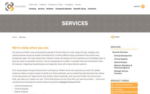 Screenshot of Services Page chiltern.com - Services | Chiltern - captured Jan. 27, 2016