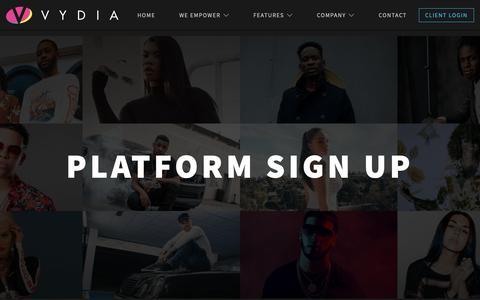 Screenshot of Signup Page vydia.com - Platform Sign Up – Vydia - captured June 1, 2019