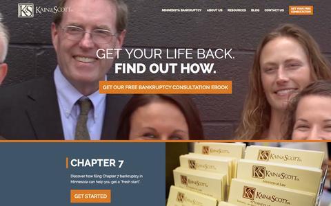 Screenshot of Home Page kainscott.com - Kain & Scott Bankruptcy Law Firm - captured Sept. 6, 2015