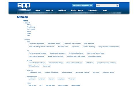 Screenshot of Site Map Page spppumps.com - Sitemap - SPP Pumps - captured Sept. 30, 2014