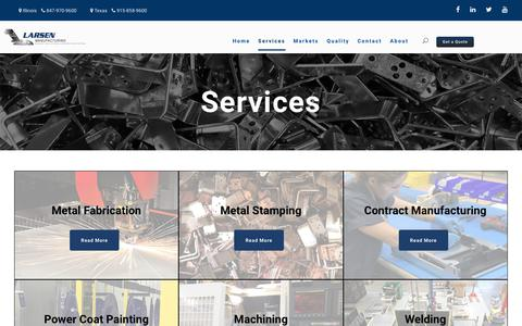 Screenshot of Services Page larsenmfg.com - Service - LARSEN - captured Sept. 27, 2018