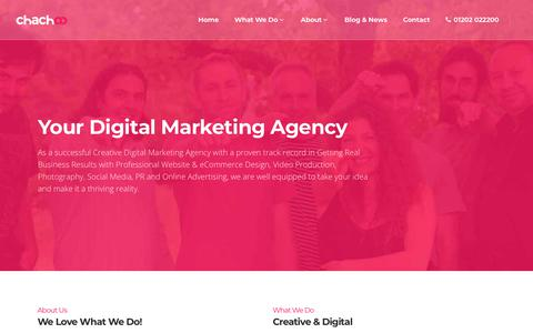 Screenshot of About Page chachoo.co.uk - About chachoo Web Design, Social Media & Digital Marketing Agency - captured June 4, 2018