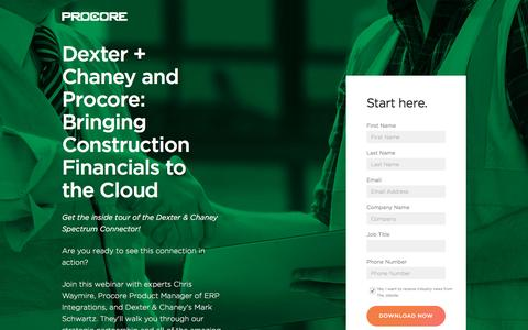 Screenshot of Landing Page procore.com - Dexter + Chaney and Procore: Bringing Construction Financials to the Cloud - captured March 9, 2017