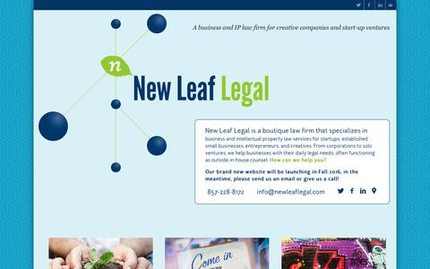 Screenshot of Home Page newleaflegal.com - New Leaf Legal - A business and IP law firm for creative companies and start-up ventures - captured Nov. 29, 2016
