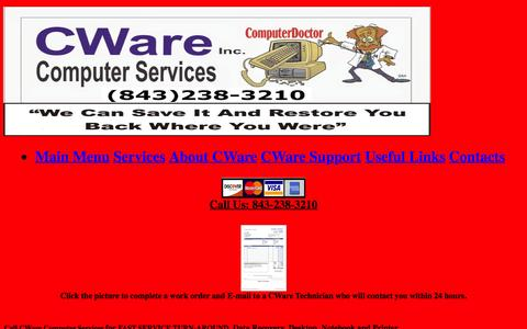 Screenshot of Services Page cware.net - Services - captured Oct. 15, 2016