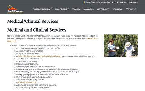 Screenshot of Services Page redcliffascent.com - Troubled Teen Clinical & Psychological Services Improving Physical Health as well as Mental Health - - captured Dec. 8, 2019