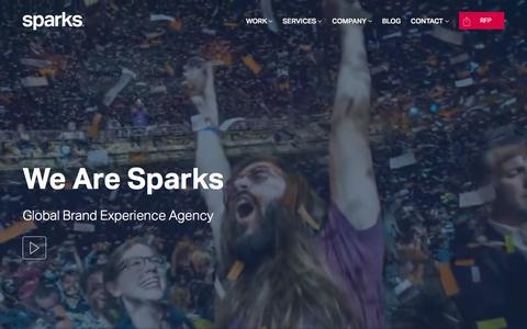 Screenshot of Home Page wearesparks.com - Brand Experience Agency   Experiential Marketing   Event Marketing - captured Aug. 22, 2019