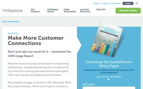 Screenshot of Case Studies Page vinsolutions.com - VinSolutions - CRM Usage Report: Make More Customer Connections - captured Dec. 3, 2019