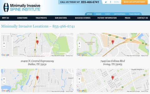 Screenshot of Contact Page Locations Page mispinerelief.com - Locations | Minimally Invasive Spine Institute - captured Dec. 1, 2016