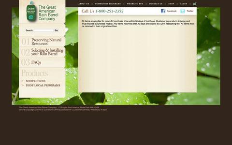 Screenshot of Support Page Terms Page greatamericanrainbarrel.com - return information - captured Oct. 26, 2014