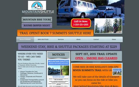 Screenshot of Home Page mountainshuttle.ca - Mountain Shuttle Rossland Transportation - captured Sept. 10, 2015