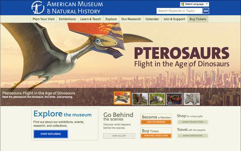Screenshot of Home Page amnh.org - American Museum of Natural History - captured Sept. 18, 2014