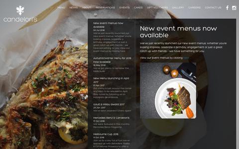 Screenshot of Press Page candeloris.com.au - New event menus now available – Candelori's Ristorante e Bar - captured Dec. 14, 2018