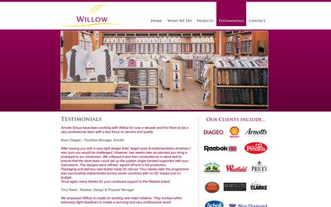 Screenshot of Testimonials Page willowpm.com - Testimonials | Willow Project Management - captured May 20, 2016