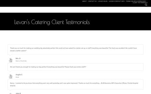 Screenshot of Testimonials Page levanscatering.com - Client Testimonials | Levan's Catering | Orlando Catering - captured April 28, 2017