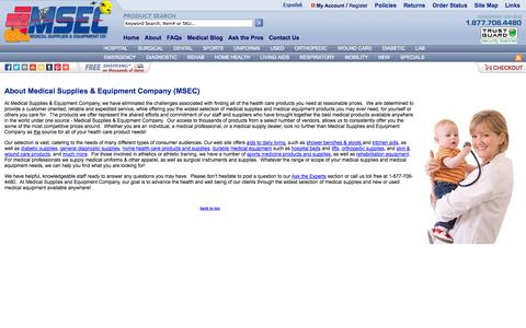 Screenshot of About Page medical-supplies-equipment-company.com - Medical Supplies & Equipment Company - captured Oct. 31, 2014