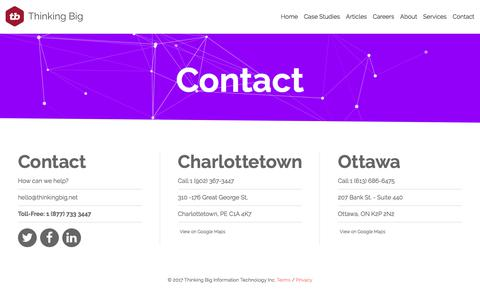 Screenshot of Contact Page thinkingbig.net - Thinking Big Digital Services - Contact - captured July 16, 2017