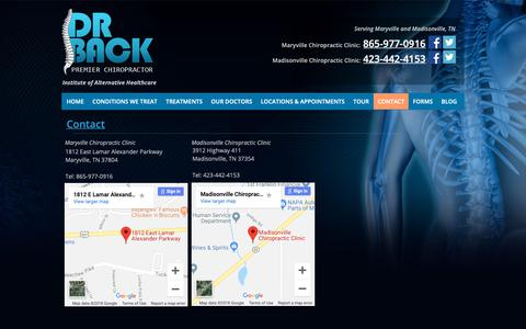 Screenshot of Contact Page dr-back.com - CONTACT - Dr. Back Premier Chiropractor - captured Oct. 9, 2018