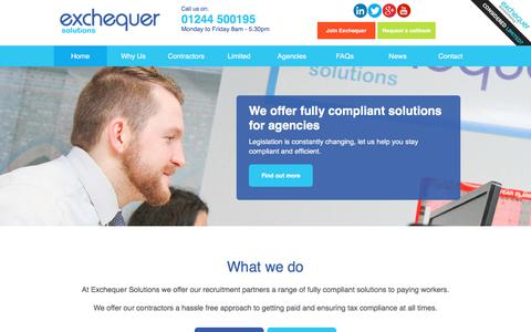 Screenshot of Home Page exchequersolutions.co.uk - Umbrella Company UK | Umbrella Payroll | Exchequer Solutions - captured Nov. 15, 2017
