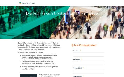 Screenshot of Landing Page commercetools.com - Commercetools | Die Fusion von Content und Commerce - captured July 9, 2016
