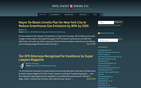 Screenshot of Blog sprlaw.com - Blog | Sive, Paget & Riesel - captured Oct. 6, 2014